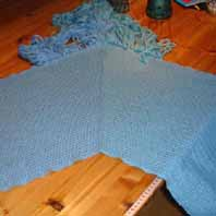 a V-shawl just off the loom